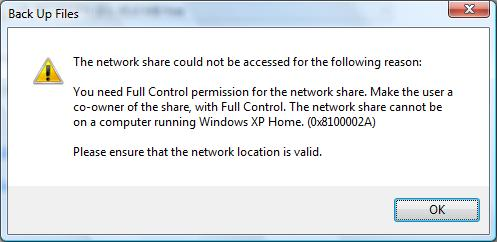 XP Home network share error